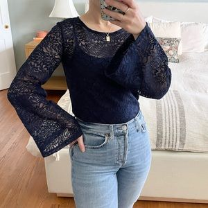 Sea New York Navy Lace Bell Sleeve Blouse